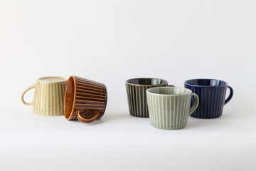 Japanese Colorful Pottery - Cups (Brown, Ocher, Khaki, Gray, Navy)