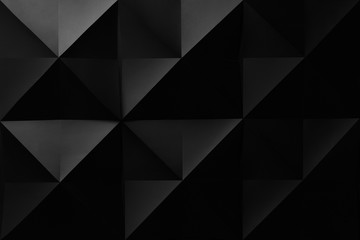 Composition with black geometric shapes, abstract background