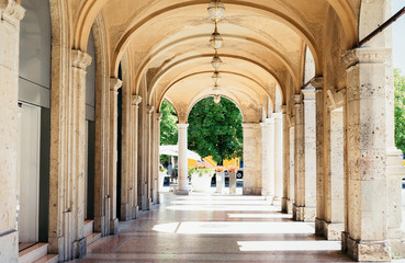Archway of historical building in Lower City in Bergamo Italy