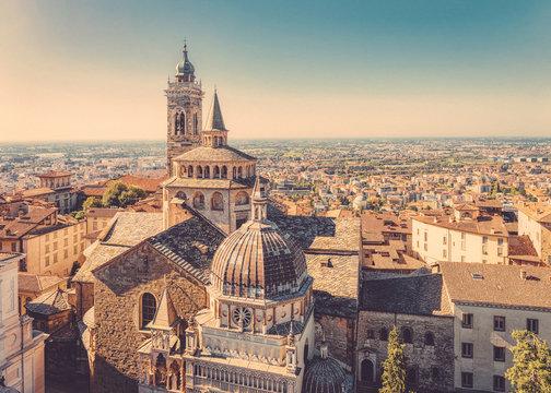 Cityscape with Basilica of Santa Maria Maggiore in Bergamo, Lombardy,  Italy