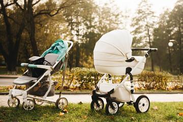 Walk with infants in the autumn parks. Two strollers on nature background