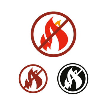 Stop fire and no flame vector icon