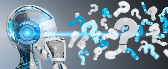 White robot using digital question marks 3D rendering