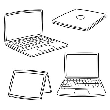 vector set of laptop