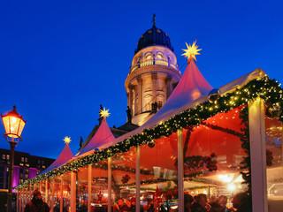 Night Christmas Market of Gendarmenmarkt at Winter Berlin Germany