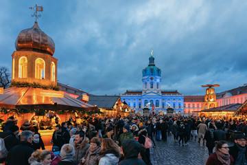 Night Christmas Market near Charlottenburg Palace Winter Berlin Germany