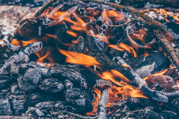 Place after a fire, smoldering coals