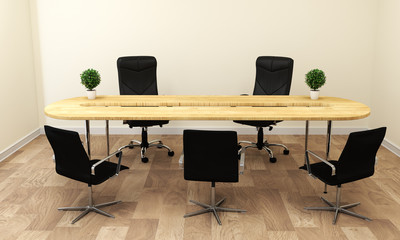 Empty white Conference room interior with wood floor on white wall background - empty room business room interior. 3d rendering