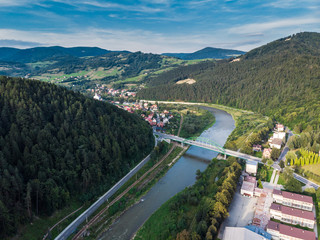 Aerial view over Szczawnica town in Pieniny, Poland