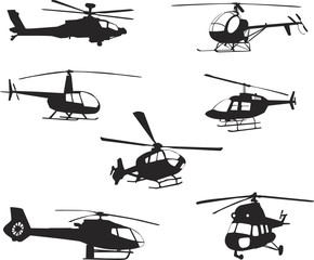 Collection of silhouettes of various helicopter