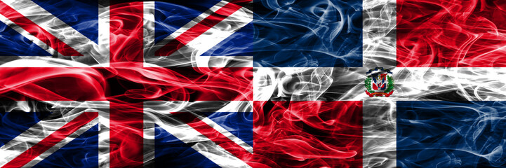 United Kingdom vs Dominican Republic smoke flags placed side by side. Thick colored silky smoke flags of Great Britain and Dominican Republic
