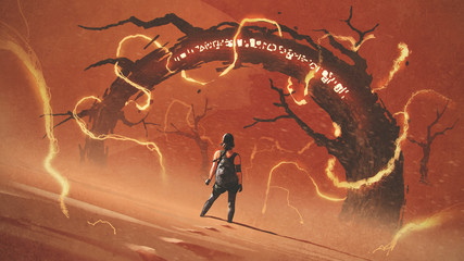 adventure scene showing the young woman standing in front of the odd tree gate with lightning effects against red desert, digital art style, illustration painting