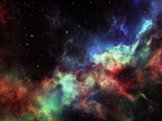 Nebula and stars in deep outer space, background illustration