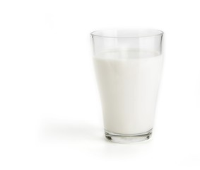 Glass of the fresh milk on a white background
