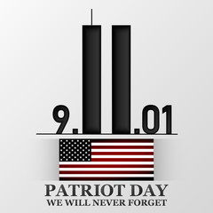 11 september. Patriot day. Design for postcard, flyer, poster, banner. Vector illustration.