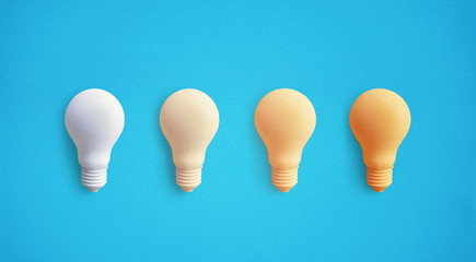 Creativity inspiration concepts with lightbulb on pastel color background.Business solution,planning ideas