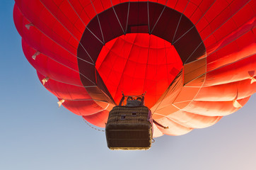 Colorful hot air balloon against the blue sky