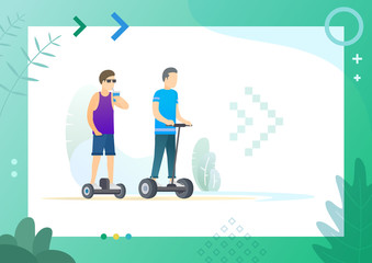 Men resting outdoors and riding on electronic skateboard with two wheels, vector illustration in frame. Conceptual Web template.