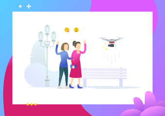 Two female friend walking in park. Girls taking selfie using a drone. Drone make a photo or video. Conceptual Modern and Trendy colorful vector illustration for landing page. Web template.