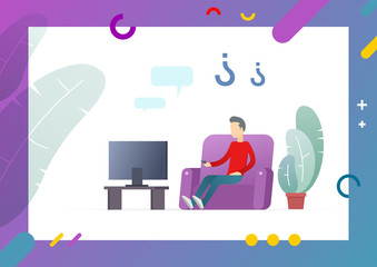 Abstract flat with decorative tree, modern furniture, TV set on table and lilac sofa, man resting in home and watching television vector illustration. Conceptual Web template.