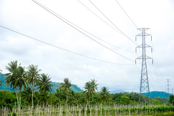 High voltage electricity pole with clear blue sky landscape