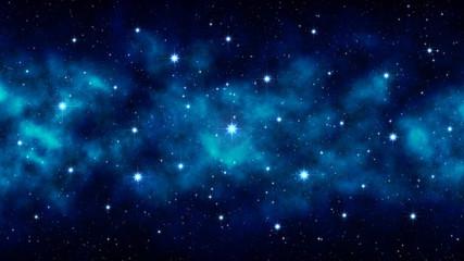 Night starry sky, blue space background with bright big stars, nebula