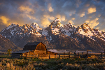 Morning light over John Moulton Barn at the Grand Tetons National Park