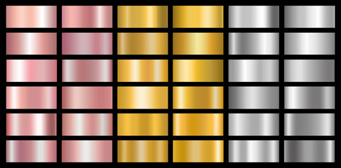 Gold, silver and bronze gradients set. Vector