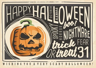 Halloween card design. Happy Halloween retro poster design with pumpkin head and artistic lettering.