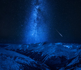 Fototapete - Milky way with falling star in Tatra Mountains, Poland