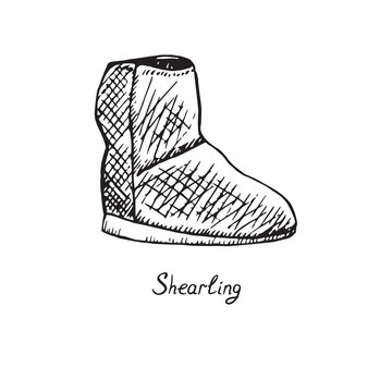 Shearling Boots, isolated hand drawn outline doodle, sketch, black and white vector illustration with inscription