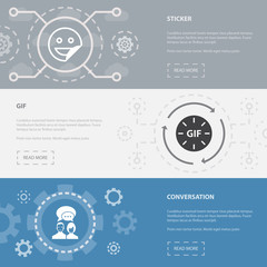 message 3 horizontal webpage banners template with sticker, gif, conversation concept icons. Flat modern isolated icon illustration.