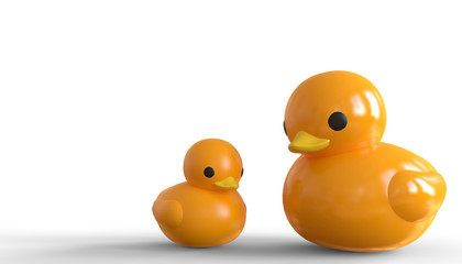 Yellow duck ball toy with cute duck mom 01 / 3d render
