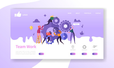 Website Development Landing Page Template. Mobile Application Layout with Flat Business People Running Gears. Team Work Concept. Easy to Edit and Customize. Vector illustration