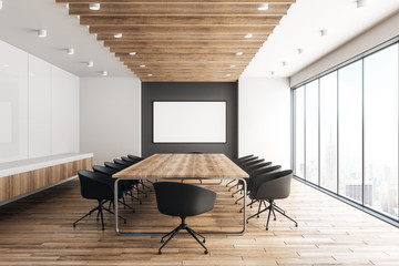 Modern wooden meeting room with billboard