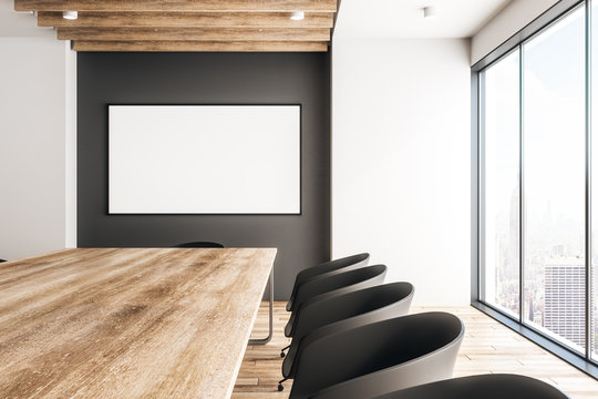 Contemporary wooden meeting room with banner