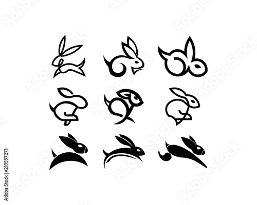 animal rabbit one line art logo design simple black and white vector illustration