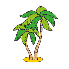 Two palm trees isolated. Tropical sea beach summer vacation resort icon.
