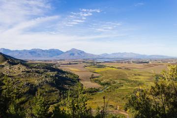 Franschhoek vineyard landscape, South africa panorama