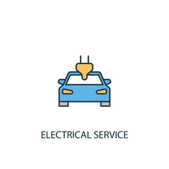 Electrical service concept 2 colored line icon. Simple yellow and blue element illustration. Electrical service concept outline symbol design from Car service set