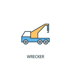 Wrecker concept 2 colored line icon. Simple yellow and blue element illustration. Wrecker concept outline symbol design from Car service set