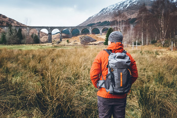Hiking, walk with backpack, active lifestyle concept image
