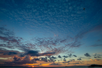 Okinawa Sun Set and Plane