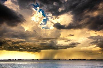 Raining clouds  on the beach