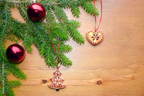 Christmas And New Year Composition On A Wooden Background A Branch