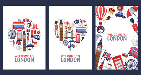 Welcome to London greeting souvenir cards, print or poster design template. Travel to Great Britain flat illustration.