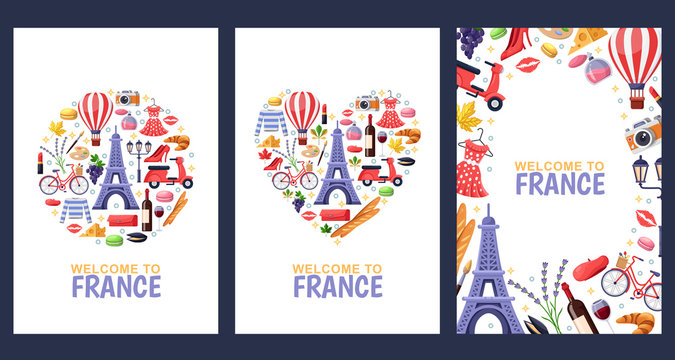 Welcome to France greeting souvenir cards, print or poster design template. Travel to Paris flat illustration.
