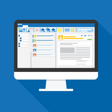 Email client software on Computer screen flat icon. business concept. office things for planning and accounting, analysis, audit, project management, marketing, research vector illustration.
