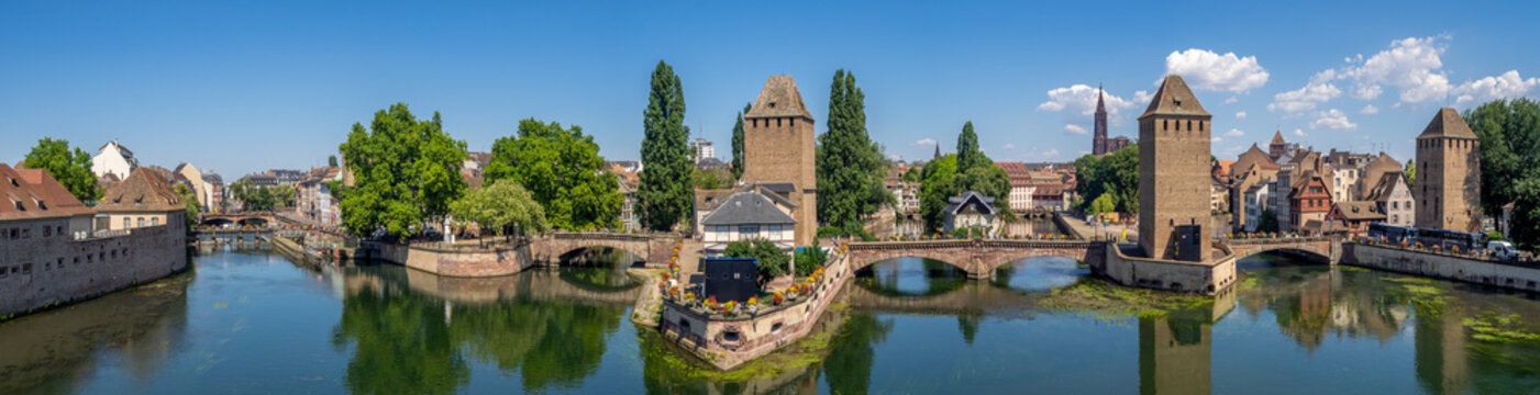The Towers of Ponts Couverts in Strasbourg. Strasbourg is the capital and largest city of the Grand Est region of France and is the official seat of the European Parliament.
