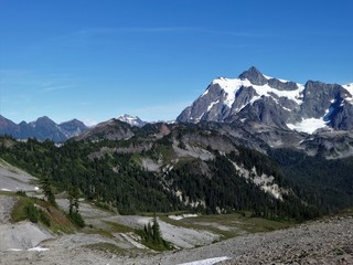 A panoramic view of Mount Shuksan from Chain Lakes trail